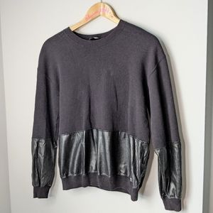 Wilfred free aritzia faux leather panels sweater